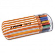 Набор капиллярных ручек Point 88 STABILO для письма, рисования, 20 цветов в пенале Zebrui
