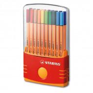 Набор капиллярных ручек Point 88 STABILO для письма, рисования, 20 цв. в пенале Color Parade