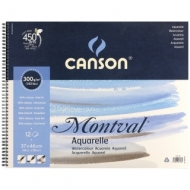 Альбом для акварели Canson Montval 300г/кв.м (целлюлоза) 37*46см 12листов Фин спираль по короткой стороне