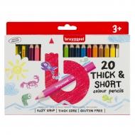 Набор цветных карандашей Bruynzeel Kids 20 толстых карандашей + точилка в картонной упаковке