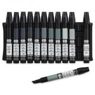Набор художественных маркеров Chartpak BASIC COOL GRAYS Plastic box (холодные серые тона), 12 шт
