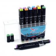Набор художественных маркеров для скетчинга Artisticks Brush 102, 12 цветов, 2-сторонние, 1-6 мм
