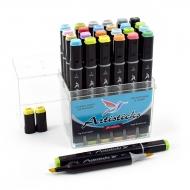 Набор художественных маркеров для скетчинга  Artisticks Brush 102, 24 цвета, 2-сторонние, 1-6 мм