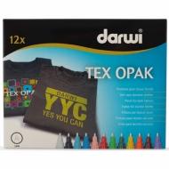Набор маркеров по текстилю для светлых и темных тканей Darwi Tex Opak, 12 цветов по 6 мл