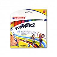 Набор эргономичных маркеров для рисования Funtastics EDDING, круглый наконечник 3 мм, 10 цветов