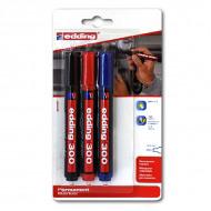 Набор универсальных перманентных маркеров EDDING 300, 1,5-3 мм, 3 цвета