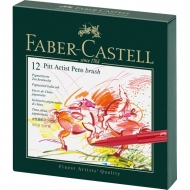 Набор капиллярных ручек для рисования Pitt Artist Pen Faber-Castell, 12 цветов, футляр из искусственной кожи