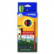 Набор трехгранных цветных карандашей Groove Slim LYRA с точилкой, 12 цветов