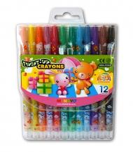 Восковые мелки для рисования детские MUNGYO с выдвижным стержнем 12 цветов