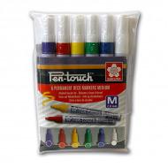 Набор перманентных маркеров Sakura Pen-Touch 6шт основные цвета, круглый наконечник, 2 мм