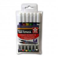 Набор перманентных маркеров Sakura Pen-Touch 6шт основные цвета, круглый наконечник, 1 мм