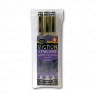 Набор капиллярных ручек-линеров Sakura Pigma Micron (0.3мм 0.4мм 0.5мм) черный цвет