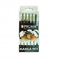 Набор черных линеров Pigma Micron Manga Sakura, 6 предметов