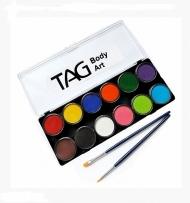 Набор профессиональных красок для аквагрима Регулярные цвета TAG, 12x10г и 2 кисти