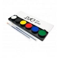 Набор профессиональных красок для аквагрима Регулярные цвета TAG, 6x10г, 2 кисти