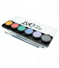 Набор профессиональных красок для аквагрима TAG, пастельные цвета 6x10г, 2 кисти