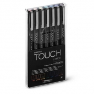 Набор цветных капиллярных ручек-линеров Touch Liner ShinHanart, 7 цветов, 0.1мм