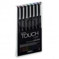 Набор цветных капиллярных ручек-линеров с кистью Touch Liner ShinHanart, 7 цветов