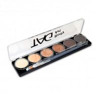 Набор профессиональных красок для аквагрима Тон кожи TAG, 6 шт. по 10 гр и 2 кисти