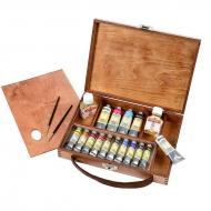 Подарочный набор Maimeri Artisti масляные краски 15 цв., разбавители, кисти, палитра, в деревянном кейсе