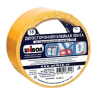 Клейкая лента двусторонняя Unibob, на тонкой полипропиленовой основе, 38мм х 10м, желтая
