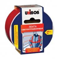 Светоотражающая клейкая лента Unibob, 48мм х 5м, красно-белая