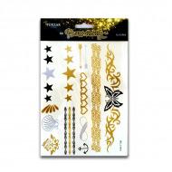 Временные флэш-татуировки TUKZAR 1018 «Нежность», 15 в 1, золото, серебро, гагат