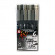 Набор акварельных маркеров-кистей Sakura Koi «Оттенки серого» 6 шт