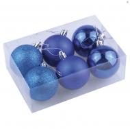 Шары елочные Золотая Сказка, набор 6 штук, пластик, 6 см, синие (глянец, матовый, глиттер)