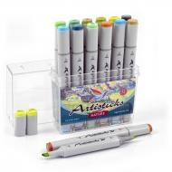 Набор художественных маркеров для скетчинга  Artisticks Style NATURE, 12 цветов, 2-сторонние, 1-6 мм