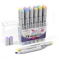 Набор художественных маркеров для скетчинга  Artisticks Style PASTEL, 12 цветов, 2-сторонние, 1-6 мм