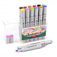 Набор художественных маркеров для скетчинга  Artisticks Style SUMMER, 12 цветов, 2-сторонние, 1-6 мм
