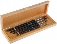 Набор кистей в буковой шкатулке Набор №1 ROUBLOFF, белка, короткая ручка, 5 шт. (№2, 3, 6, 8, 10)