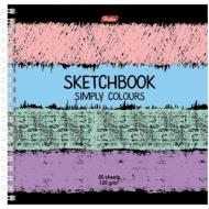 "Скетчбук-тетрадь 80л А5 на гребне Hatber ""Simply Colours"", 120г/м2 без линовки с твердой обложкой"