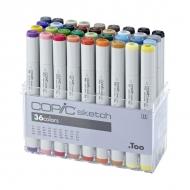 Набор маркеров для скетчей Copic Sketch с кистью, 36 цветов