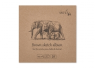 Альбом SM-LT Art Layflat Brown 135г/м2 14х14см 32л серая бумага сшитый