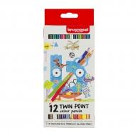 Набор двухсторонних цветных карандашей Bruynzeel Kids 12 штук в картонной упаковке
