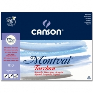 Альбом для акварели Canson Montval 270г/кв.м (целлюлоза) 36*48см 12л Снежное зерно склейка по короткой стороне
