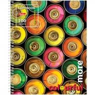 "Тетрадь 100л., А5, клетка на спирали Hatber ""Colourful more"", с карманом"