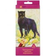 """Карандаши Сибирский кедр """"Дикие кошки"""", 24цв., трехгран., заточен., картон, европодвес"""