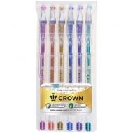 """Набор цветных гелевых ручек Crown """"Hi-Jell Metallic"""" 6 цветов металлик, 0,7мм, толщина линии 0,5мм, ПВХ упаковка"""