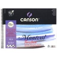 Альбом для акварели Canson Montval 270г/кв.м (целлюлоза) 24*32см 12листов Снежное зерно спираль по короткой стороне