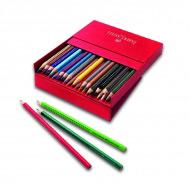 Акварельные карандаши FABER-CASTELL Colour Grip 2001 трехгранные, 36 цветов, коробка кожзам