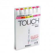 """Набор маркеров TOUCH BRUSH """"Флуоресцентные цвета"""" 6 шт"""