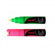 Маркер меловой, светящийся в УФ лучах Uni Chalk 8 мм (скошенное перо) PWE-8K