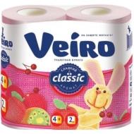 Бумага туалетная Veiro Classic 2-слойная, 4шт., ароматизир., тиснение, розовая
