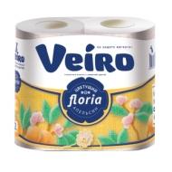 Бумага туалетная Veiro Floria. Цветущий апельсин 2-х слойн., 4шт., тиснение, с рисунком