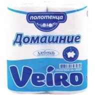 Полотенца бумажные в рулонах Veiro Домашние, 2-слойные, 12,5м/рул, тиснение, белые, 2шт.