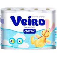 Бумага туалетная Veiro Classic 2-слойная, 12шт., тиснение, белая