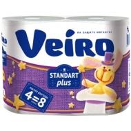 Бумага туалетная Veiro Standart Plus 2-слойная, 4шт., тиснение, белая